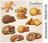 set of delicious cookies.... | Shutterstock .eps vector #588181736