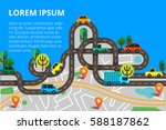 top view city map with winding... | Shutterstock .eps vector #588187862