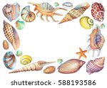 square frame with hand painted... | Shutterstock . vector #588193586