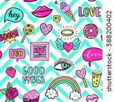 vector seamless pattern with... | Shutterstock .eps vector #588200402