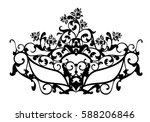 elegant carnival mask with rose ... | Shutterstock . vector #588206846