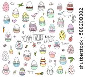 hand drawn doodle easter icons... | Shutterstock .eps vector #588208382