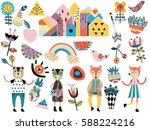 set of cute scandinavian style... | Shutterstock .eps vector #588224216