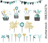 celebratory cakes with set of... | Shutterstock .eps vector #588224276
