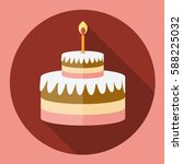 Birthday Cake Flat Icon With...