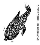 Lino Cut Wood Cut Ear Of Corn