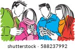 group of people with cellphones ... | Shutterstock .eps vector #588237992
