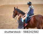 girl in helmet learning... | Shutterstock . vector #588242582