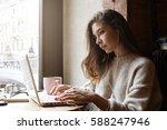 attractive caucasian female... | Shutterstock . vector #588247946