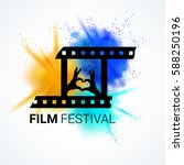 film festival emblem. movie... | Shutterstock .eps vector #588250196
