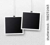 blank photo frame set hanging... | Shutterstock .eps vector #588251465