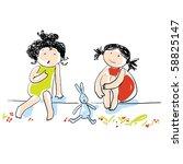 two cute girlfriends | Shutterstock .eps vector #58825147