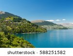 beautiful blue lake wakatipu... | Shutterstock . vector #588251582
