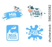 Set Milk Label  Logo  Emblem....