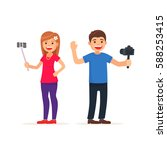 cute man and girl video... | Shutterstock .eps vector #588253415