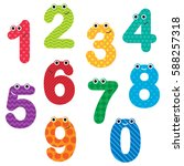 happy numbers with faces and... | Shutterstock . vector #588257318