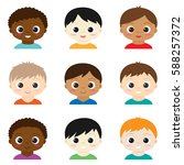 set of cute boys avatars on... | Shutterstock . vector #588257372