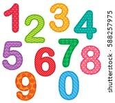 set of numbers from zero to nine | Shutterstock . vector #588257975