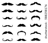 set of black mustache... | Shutterstock . vector #588258176