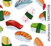 tasty sushi seamless pattern.  | Shutterstock .eps vector #588259538