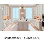 kitchen  kitchen interior with... | Shutterstock .eps vector #588264278