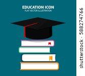 graduation cap on books stacked.... | Shutterstock .eps vector #588274766
