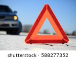 car accident on winter road.... | Shutterstock . vector #588277352