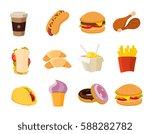 vector cartoon fast food...   Shutterstock .eps vector #588282782