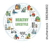 healthy lifestyle habits... | Shutterstock .eps vector #588286802