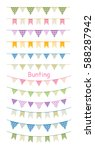 colorful bunting and garland... | Shutterstock .eps vector #588287942