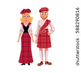 scottish couple in traditional... | Shutterstock .eps vector #588290816