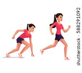 young and pretty female runner  ...   Shutterstock .eps vector #588291092