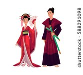 japanese geisha and samurai in... | Shutterstock .eps vector #588291098