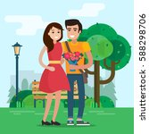 man and woman on a date in park ... | Shutterstock .eps vector #588298706