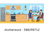 couple in kitchen with... | Shutterstock .eps vector #588298712