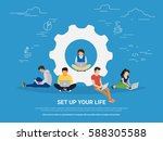 set up your life concept... | Shutterstock .eps vector #588305588