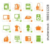 stylized home equipment icons   ... | Shutterstock .eps vector #588311228