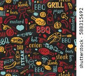 bbq barbecue grill sketch... | Shutterstock .eps vector #588315692