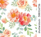Pink Roses And Peonies With...