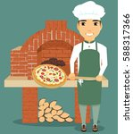 cooking pizza. the chef holding ... | Shutterstock .eps vector #588317366