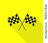 crossed checkered flags logo... | Shutterstock .eps vector #588317846