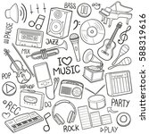 music tools doodle concept... | Shutterstock .eps vector #588319616