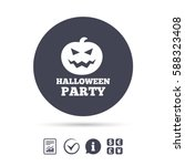 halloween pumpkin sign icon.... | Shutterstock .eps vector #588323408