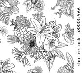 doodle floral drawing seamless... | Shutterstock .eps vector #588335966
