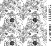 black and white flower pattern... | Shutterstock .eps vector #588335972