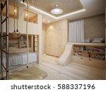 bright and cozy modern children'... | Shutterstock . vector #588337196