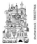 very detailed building  doodle... | Shutterstock .eps vector #588337466