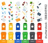 garbage cans flat illustrations.... | Shutterstock . vector #588345902
