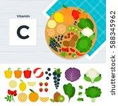 vitamin c flat illustrations.... | Shutterstock . vector #588345962