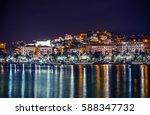 Night in the La Spezia Marina. City of La Spezia Panorama. Liguria, Italy. - stock photo